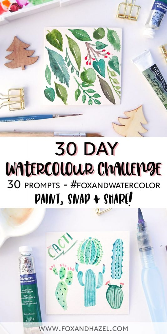 30 Day Watercolor Challenge - Pinterest