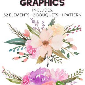 free watercolor flower graphics from fox hazel