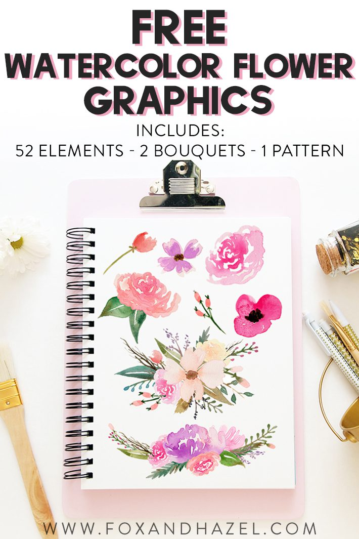 Free Watercolor Flower Graphics - Fox + Hazel 2