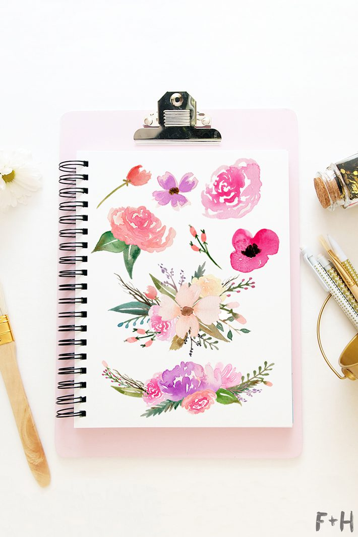 free watercolor flower graphics from fox hazel