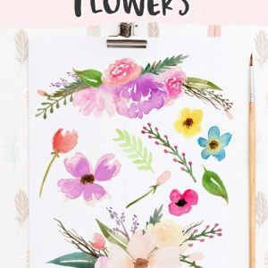 paper with watercolor flowers