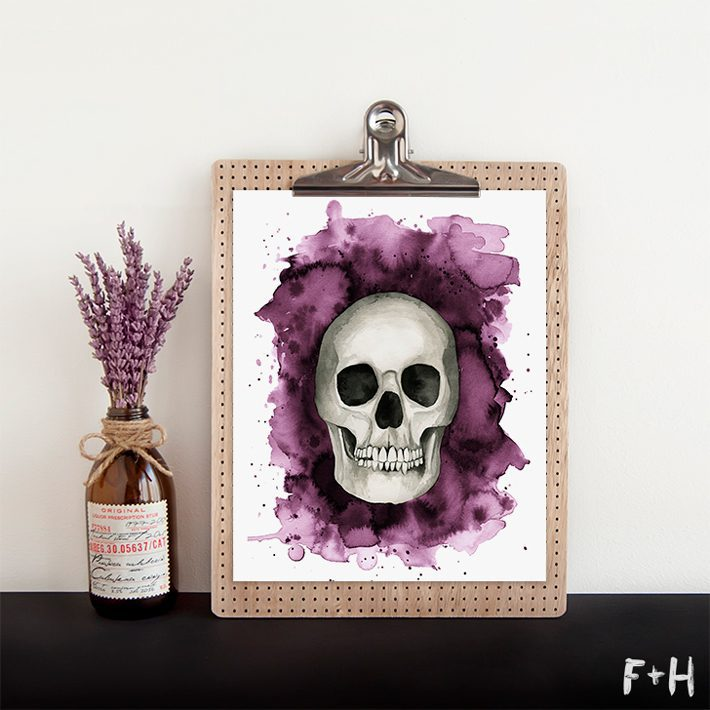 Free Watercolor Skull Print - Fox + Hazel 2
