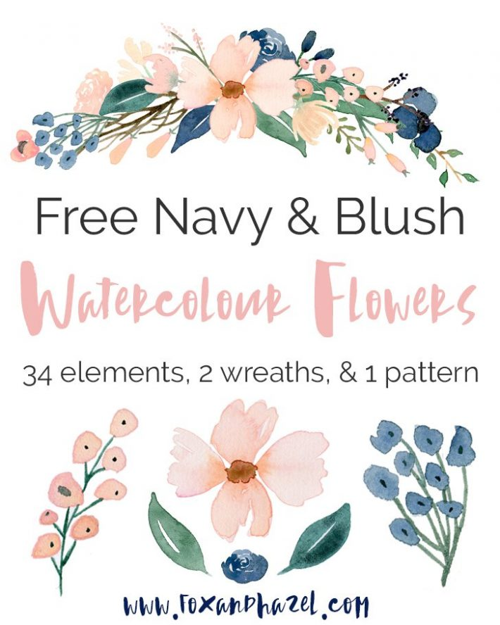 Navy & Blush Free Watercolo Flowers - Title
