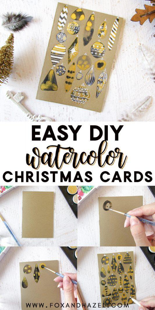 How To Make Easy Diy Watercolor Christmas Cards Fox Hazel