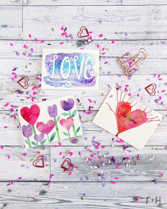3 easy to make watercolor valentines cards fox hazel