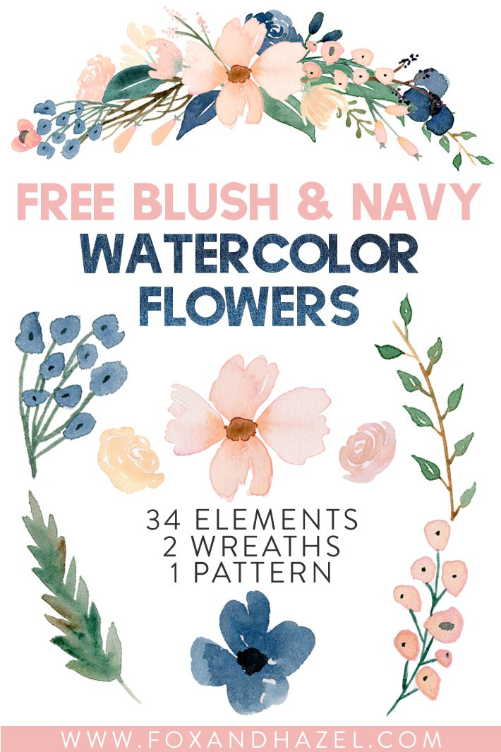 Free Blush & Navy Beautiful Watercolor Flowers