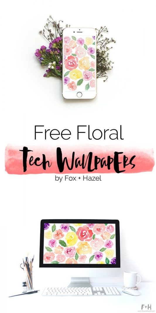 Free Floral Tech Wallpaper - Fox + Hazel