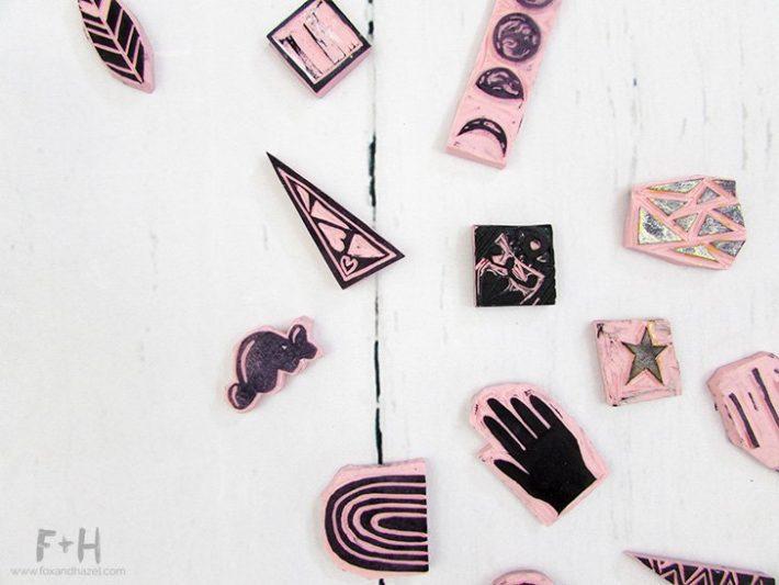 Diy carved stamps for art journaling fox hazel