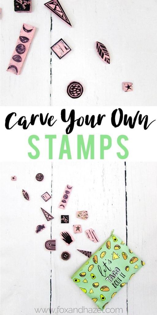 Diy carved stamps pinterest image fox hazel