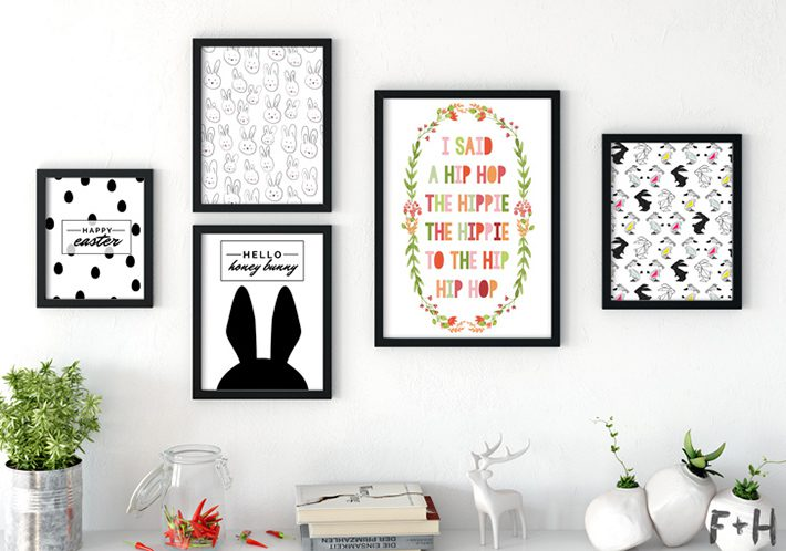 gallery wall of modern easter art prints
