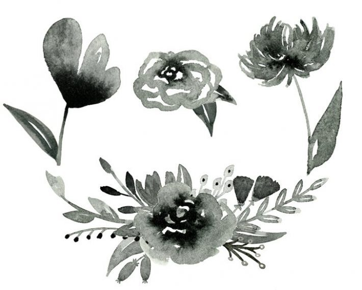 Inky Free Watercolor Flower Graphics From Fox Hazel