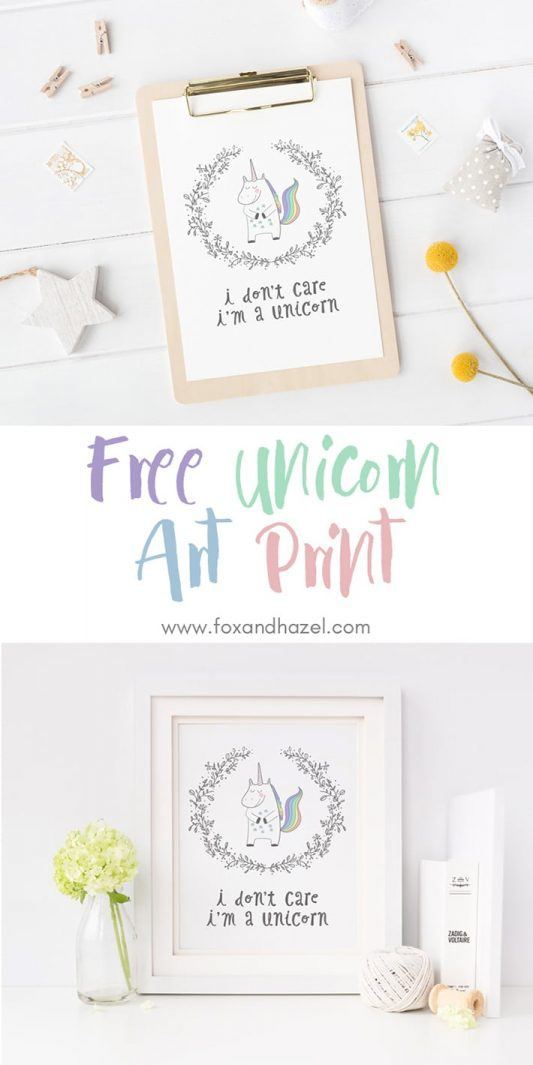 Free Unicorn Printable Wall Art - Fox + Hazel
