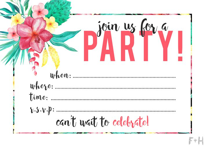 graphic about Printable Party Invitations named Free of charge Printable Tropical Occasion Invitation Fox + Hazel