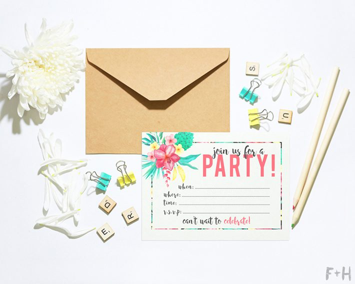 printable tropical party invitation
