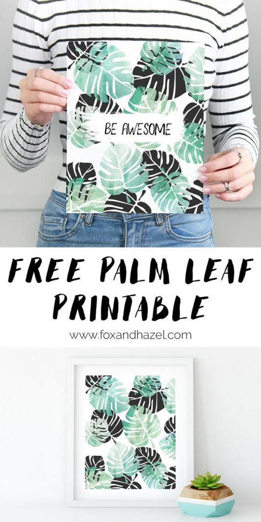 black and white tropical leaf printable art print