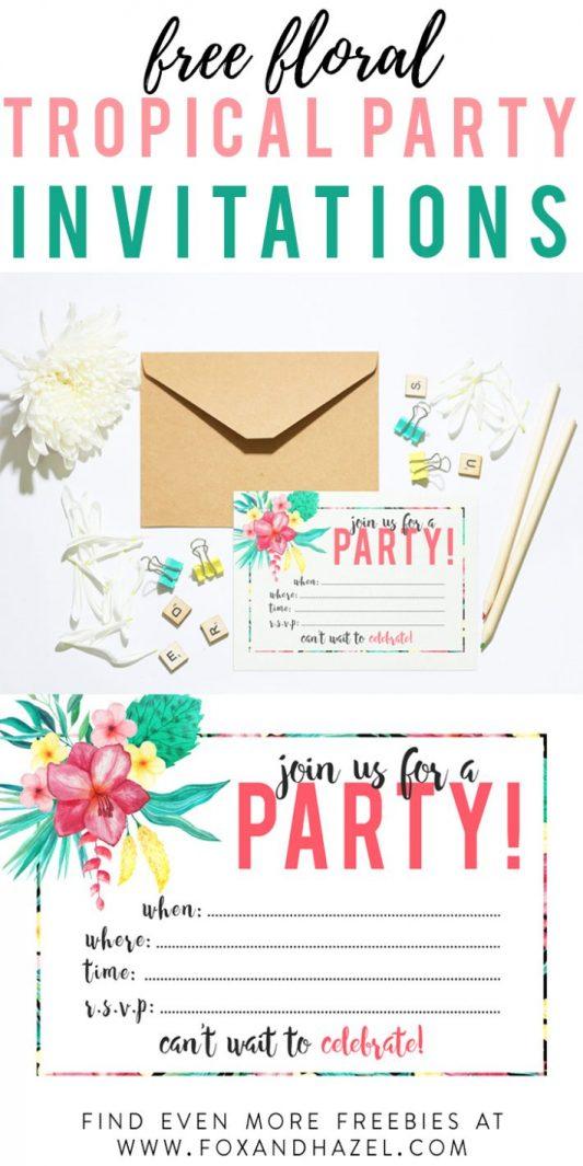 Free Printable Tropical Party Invitation | Fox + Hazel