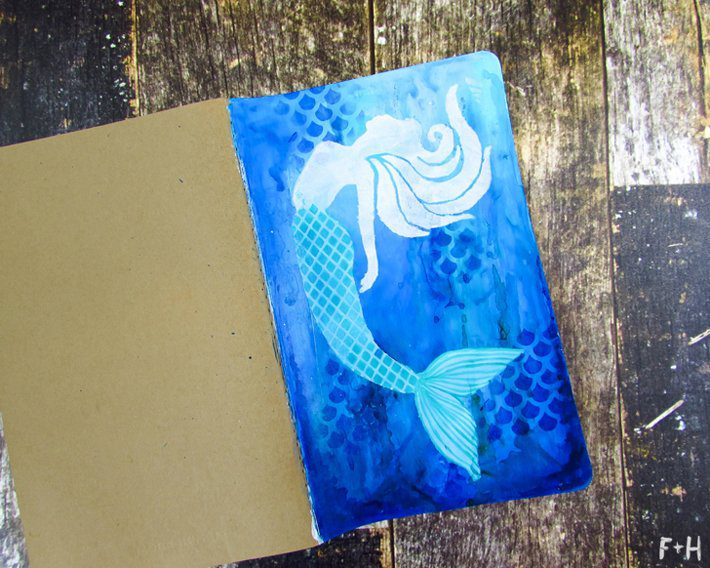 Mermaid Moleskine Notebook with StencilGirl - Fox + Hazel