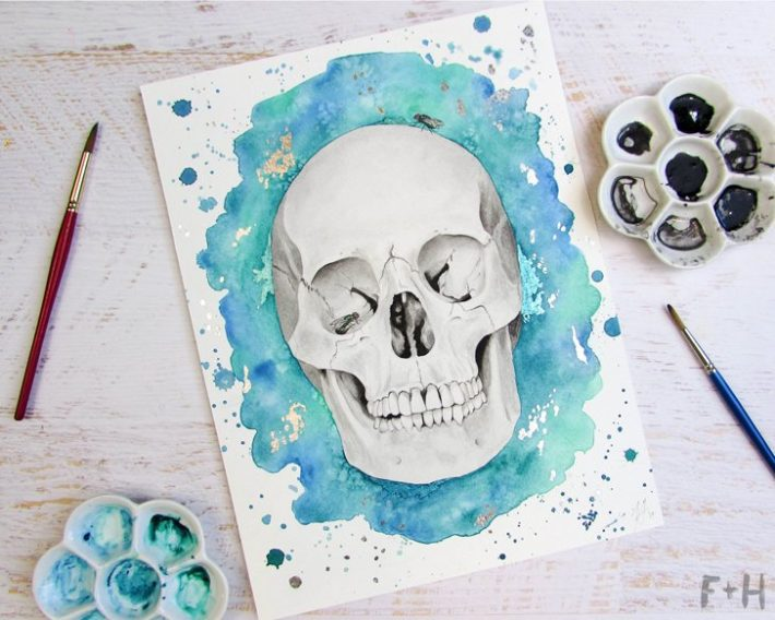 watercolor-skull-painting-fox + hazel