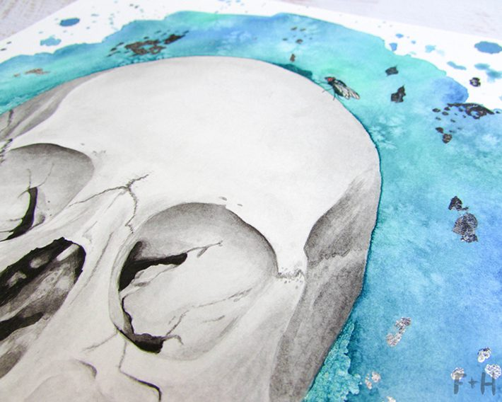 Watercolor Skull Painting - Fox + Hazel