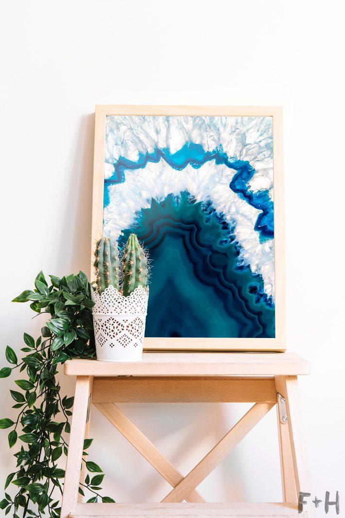 blue agate art print on stool