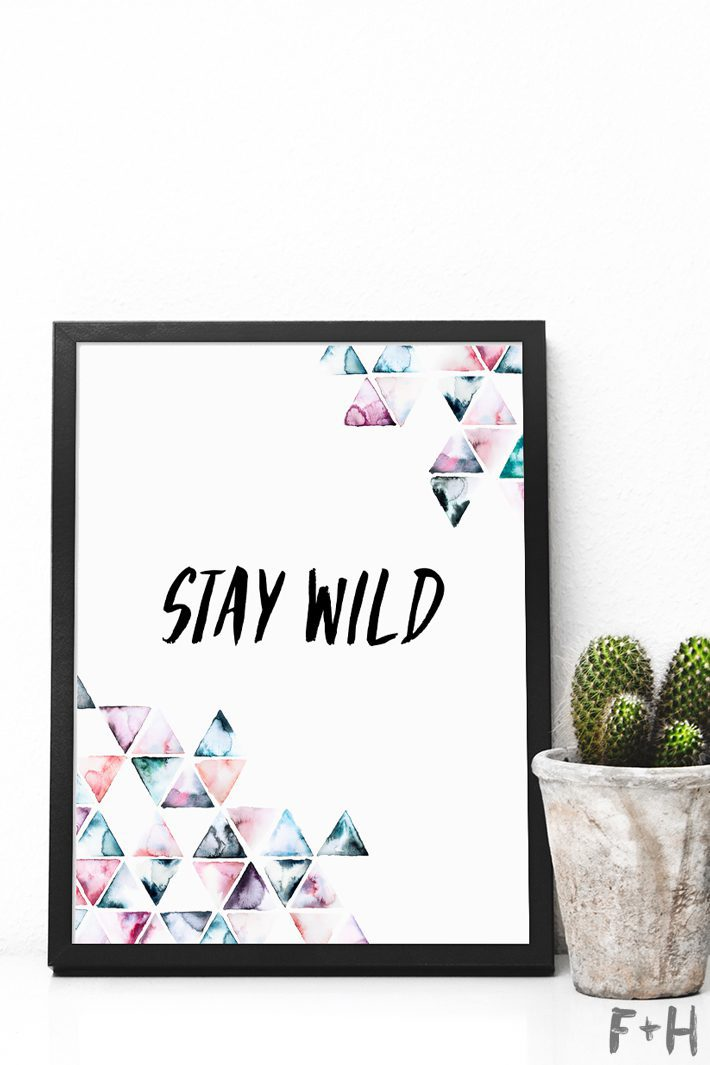 stay wild trianglea rt print in black frame