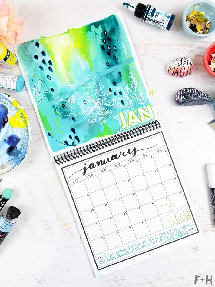 Diy Calendar Supplies : Diy calendar design for january fox hazel
