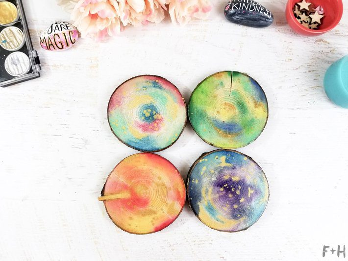 DIY-Watercolor-Wood-Slice-Coasters-9-Fox + Hazel