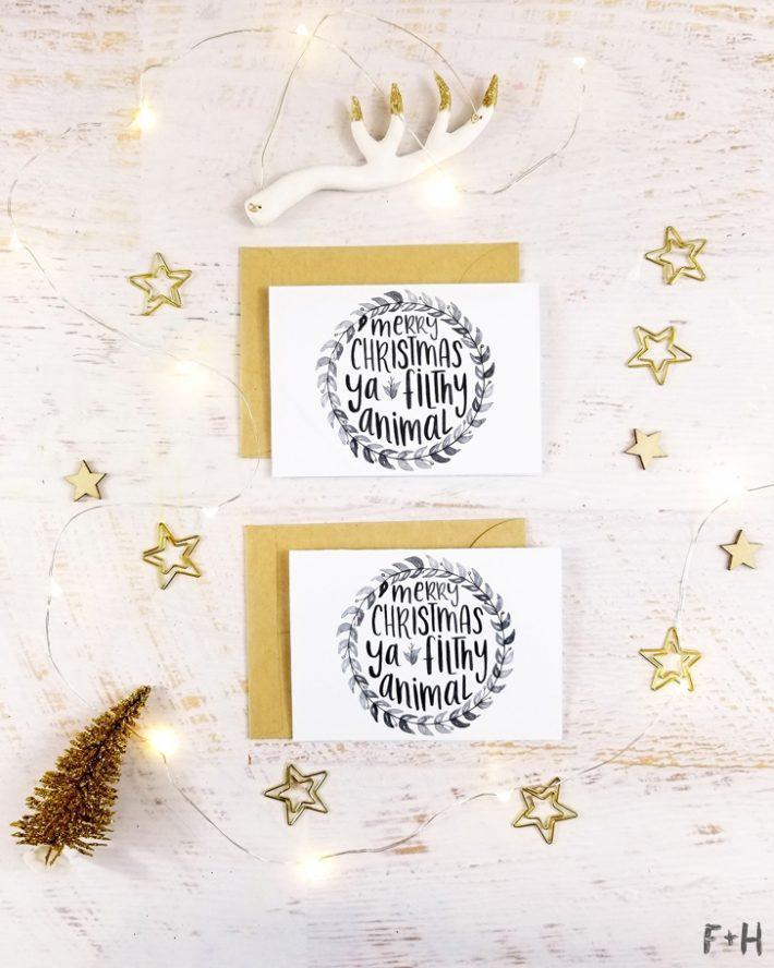 free watercolor christmas cards print fox hazel