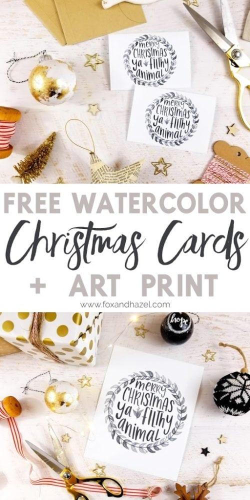 Free Watercolor Christmas Cards + Print | Fox + Hazel