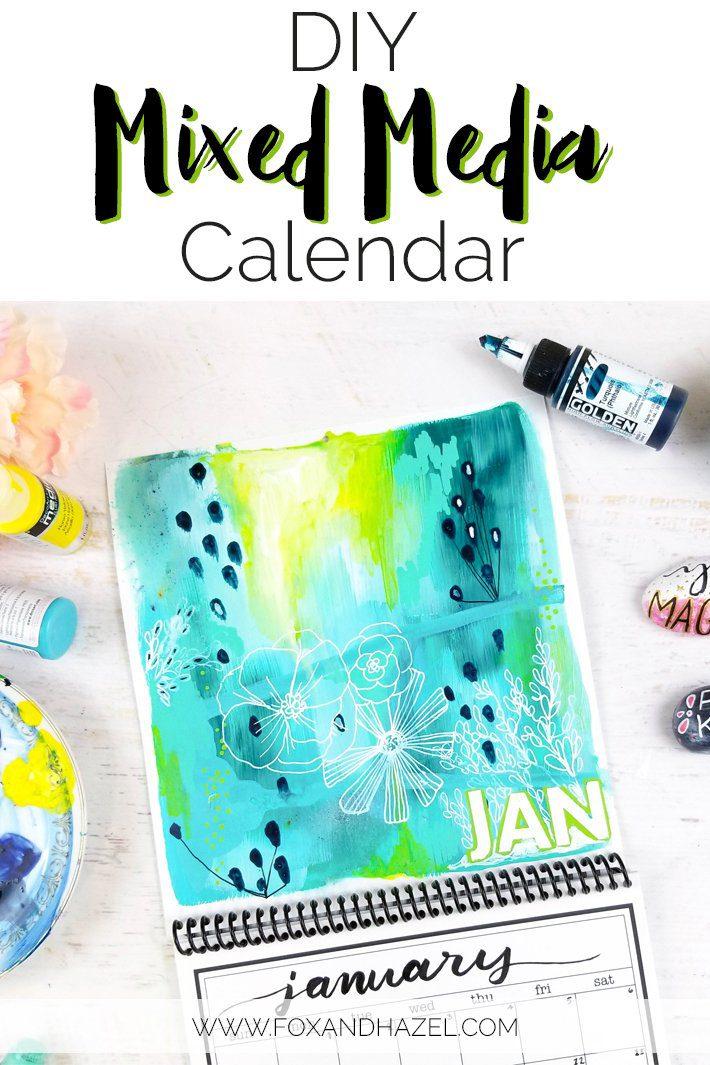 DIY Calendar Design - Mixed Media January 2018 - Fox + Hazel