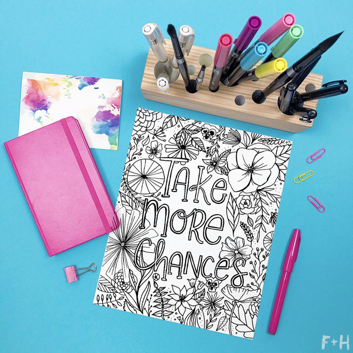 Flower Coloring Page Printable - Fox + Hazel