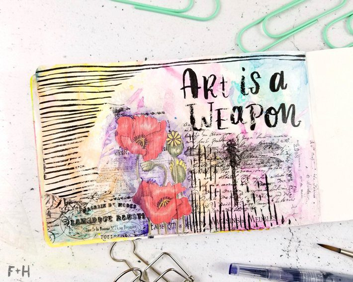 Mixed-Media-Art-Journal-Page---Inspiration-Deck---Fox-+-Hazel-10