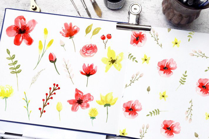 Red & Yellow Free Watercolor Flowers Clip Art - Fox + Hazel