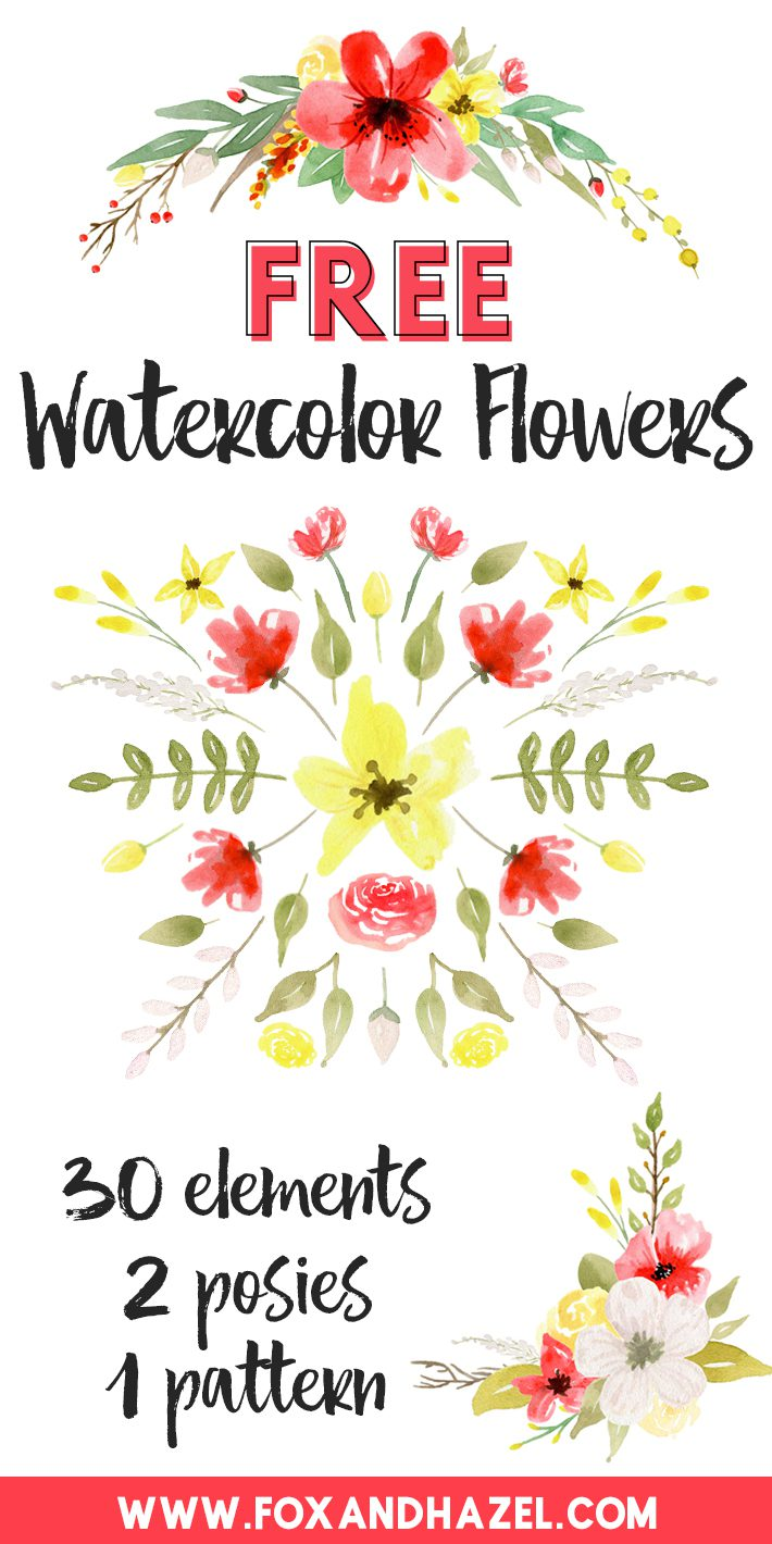 Free Watercolor Flowers Graphics - Red & Yellow - Fox + Hazel
