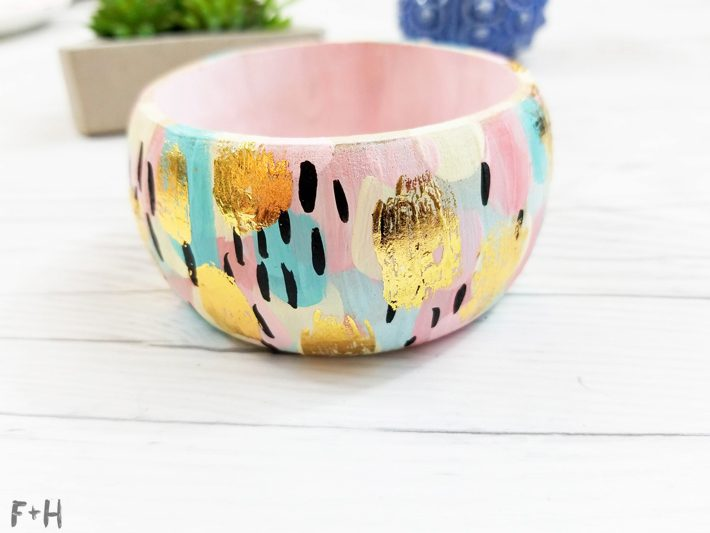 Abstract-Painted-Wooden-Bangle-Bracelets-with-DecoFoil--Fox-+-Hazel-22