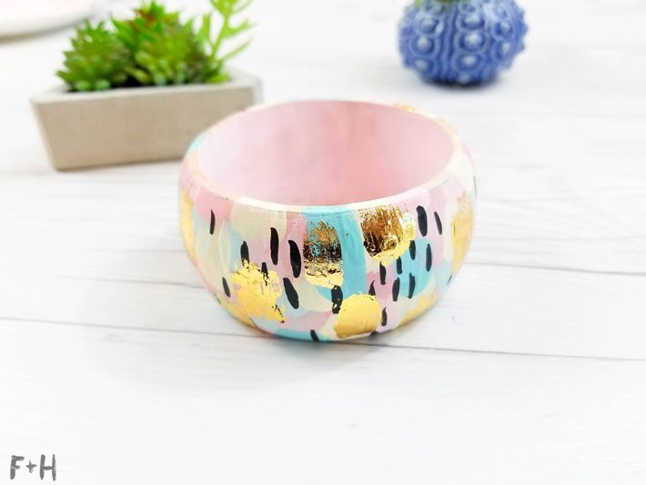 DIY Abstract Painted Wood Bangle Bracelets -Fox + Hazel