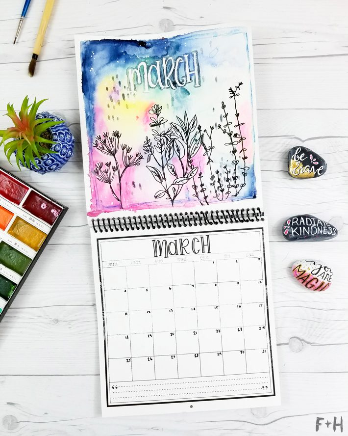 DIY Watercolor Flower Calendar - Fox + Hazel 5