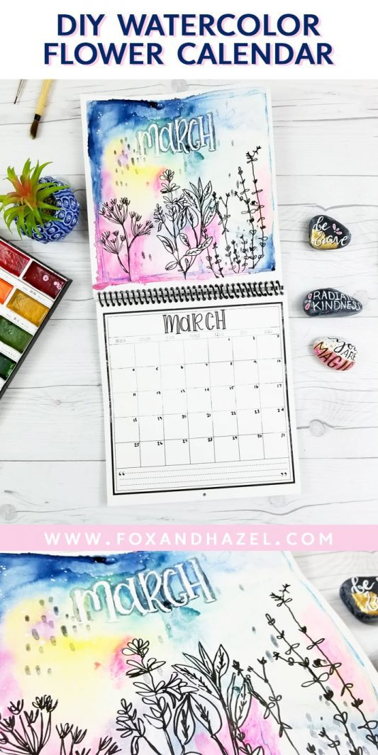diy watercolor flower calendar - fox + hazel - pinterest-long