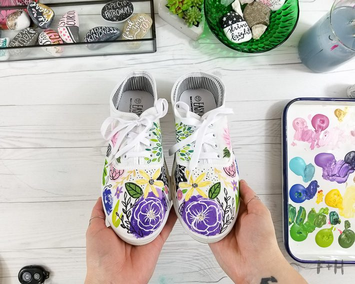 painted white canvas sneakers