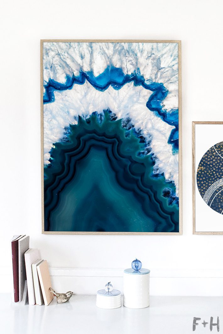modern blue agate art on white wall