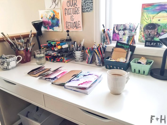 white ikea desk with art supplies