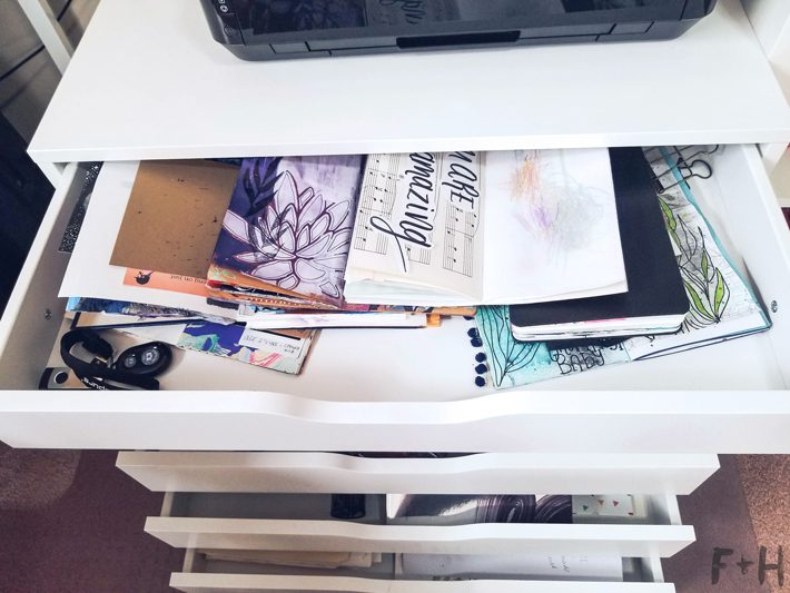 open ikea alex drawer with journals