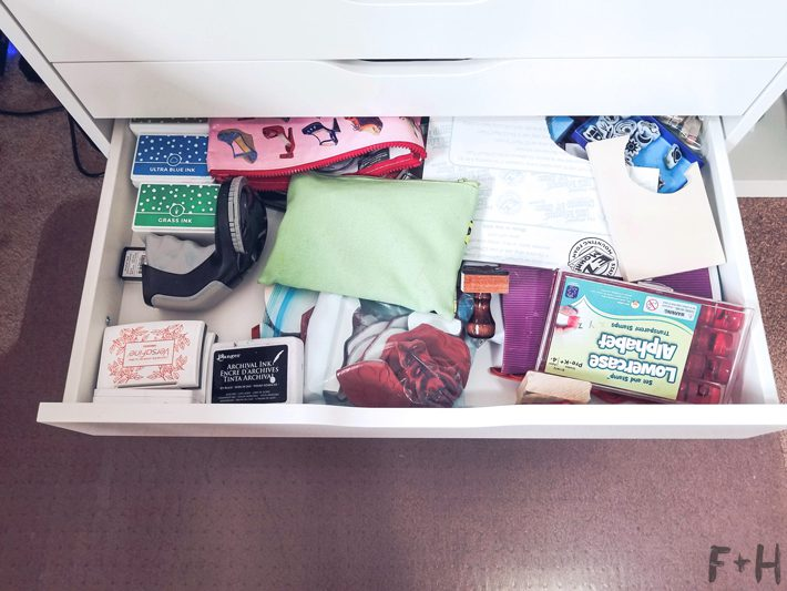 ikea alex drawer open with stamps