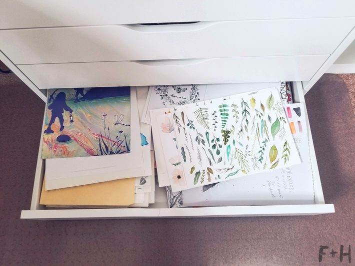 ikea alex drawer open with papers