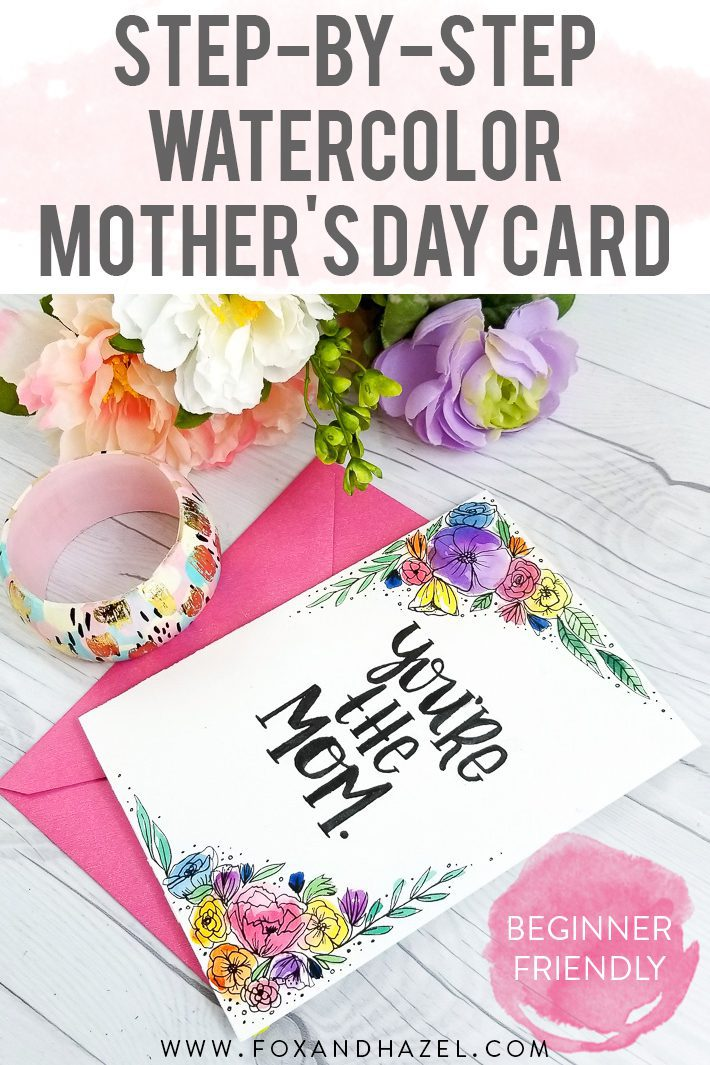mother's day card watercolor tutorial with flowers