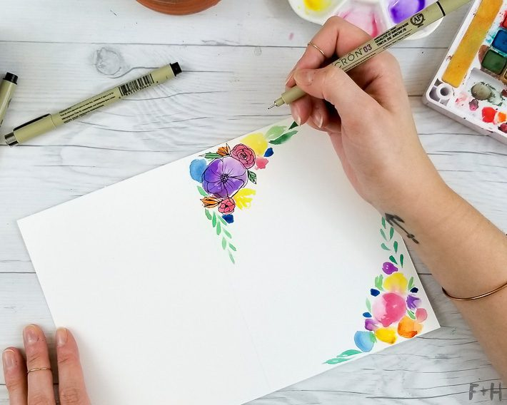 drawing flowers on watercolor