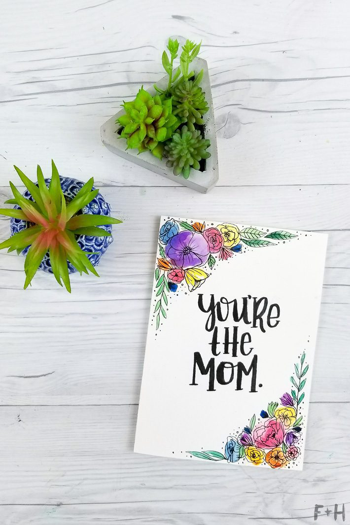 watercolor mother's day card diy