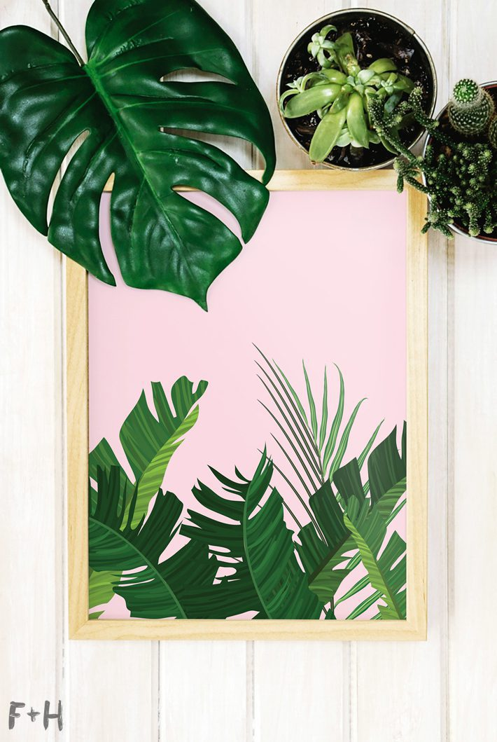 palm leaf prints with pink backgrounds in wood frames