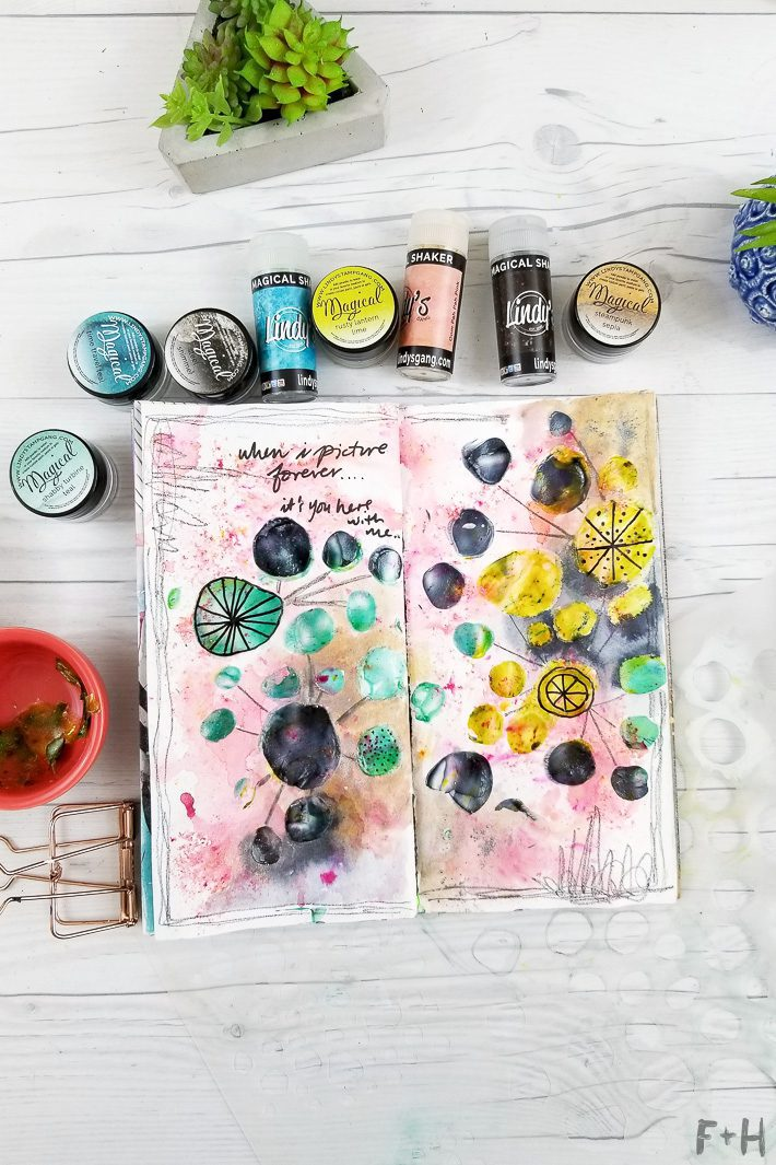 art journal with lindy's stamp gang and stencilgirl