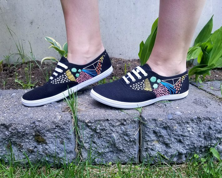 black embroidered canvas shoes